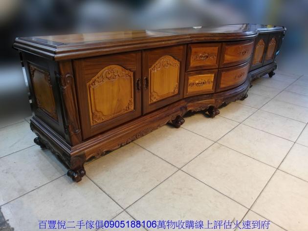 仿古黑檀柚木十尺全實木電視櫃TV櫃矮櫃置物收納櫃櫥櫃 4