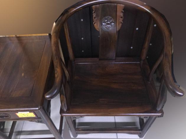 全新庫存雞翅木全實木仿古一桌二椅客廳組椅 公婆椅 太師椅 2
