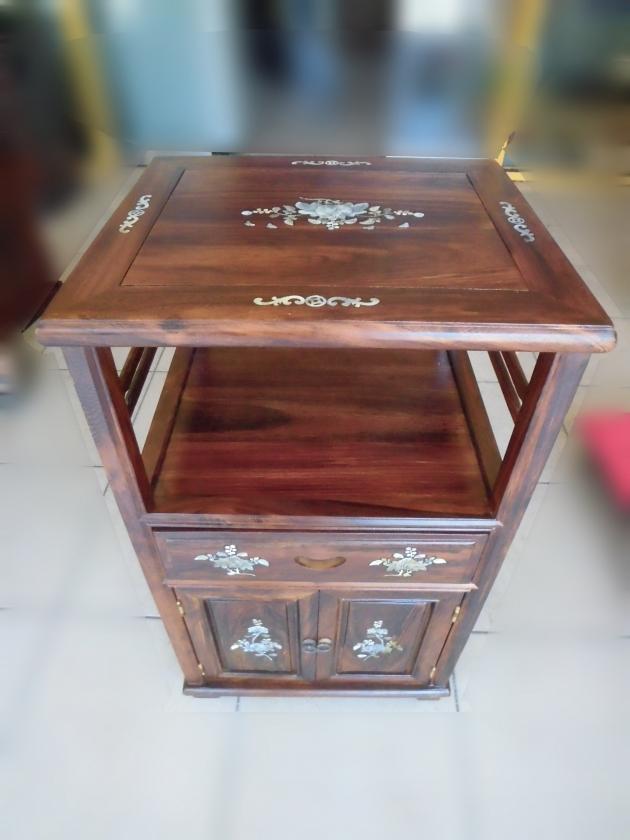 全新仿古雞翅木鑲貝造型電話櫃 角落櫃 置物櫃 收納櫃 邊桌 1