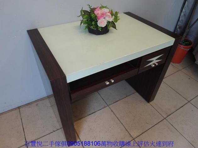 二手胡桃色3尺玻璃2抽電腦桌書桌工作桌寫字桌學生桌椅 3