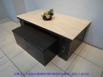 二手咖啡色皮面鐵腳餐桌椅洽談椅休閒椅等候椅咖啡營用吃飯椅 1