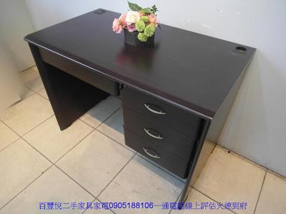 二手胡桃色3.5尺四抽書桌電腦桌工作桌學生桌辦公桌椅 3