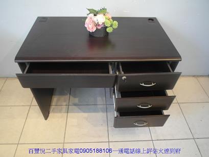 二手胡桃色3.5尺四抽書桌電腦桌工作桌學生桌辦公桌椅 2