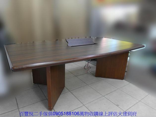 二手8尺胡桃色OA辦公會議桌開會桌辦公桌工作桌會客桌 2