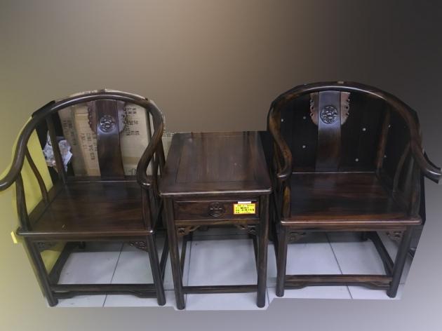 全新庫存雞翅木全實木仿古一桌二椅客廳組椅 公婆椅 太師椅 1