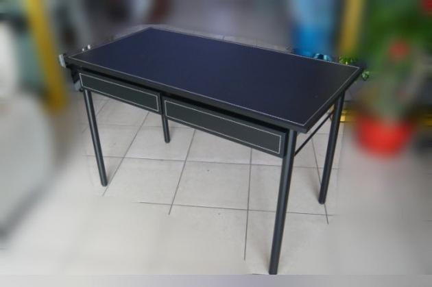 全新庫存時尚黑書桌 馬鞍皮寫字桌有抽屜 黑色皮面辦公桌電腦桌 2抽工作桌 2