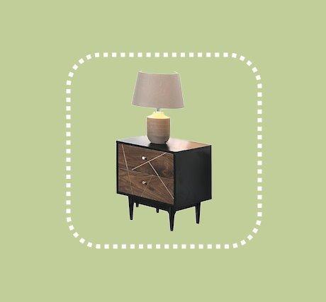 新品出清現代設計風胡桃色二抽床邊櫃 置物收納儲物櫃 1
