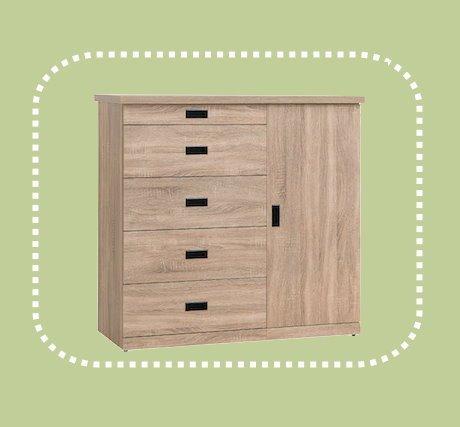 新品出清4尺梧桐色五斗櫃 置物收納櫃 房間儲物抽屜櫃 1