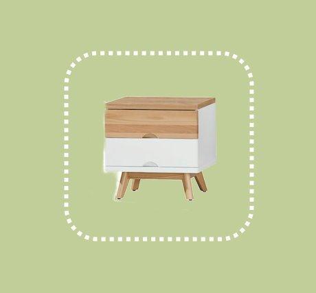 新品出清原木色加白兩抽床邊櫃 抽屜櫃邊櫃置物收納櫃 1