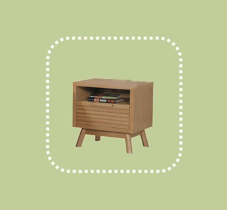 新品出清柚木色52公分單抽床邊櫃 置物收納抽屜櫃 1