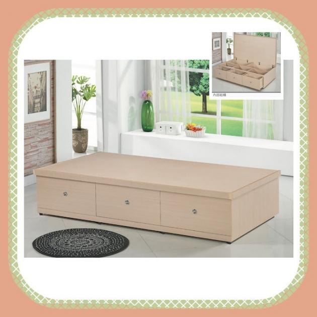 新品出清白橡色3.5尺多功能收納床底 單人加大床箱床組 1