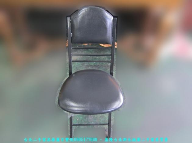 新品出清黑色37公分皮質折疊椅 中古收納椅 休閒椅 營業用椅 等候椅 接待椅 椅凳 1