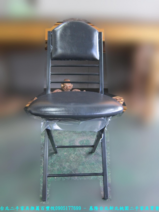 新品出清黑色37公分皮質折疊椅 中古收納椅 休閒椅 營業用椅 等候椅 接待椅 椅凳 3