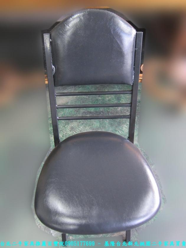 新品出清黑色37公分皮質折疊椅 中古收納椅 休閒椅 營業用椅 等候椅 接待椅 椅凳 4