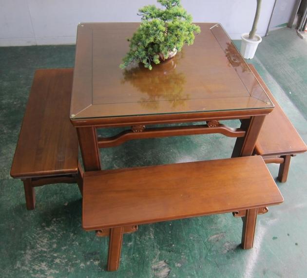二手復古風全實木一桌4椅餐桌椅組 吃飯泡茶桌椅休閒桌 2