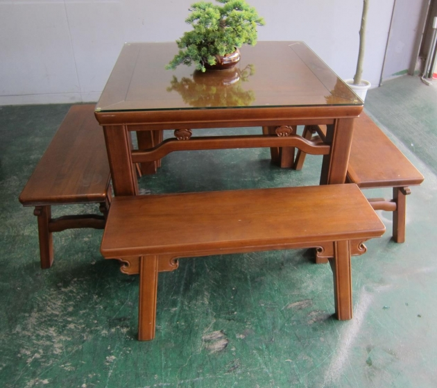 二手復古風全實木一桌4椅餐桌椅組 吃飯泡茶桌椅休閒桌 3