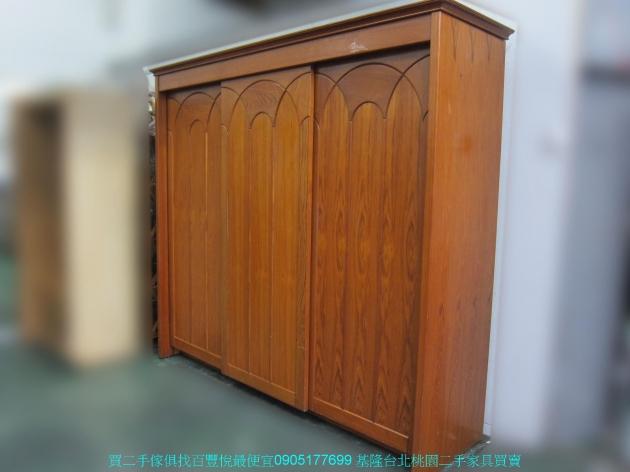 二手柚木色245公分三門推門大衣櫃 中古衣櫥 櫥櫃 收納櫃 置物櫃 邊櫃 儲物櫃 2