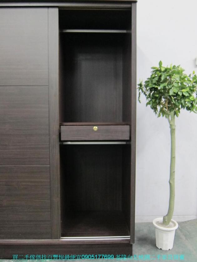 二手胡桃色124公分推門衣櫃 中古套房衣櫃 衣櫥 收納櫃 置物櫃 儲物櫃 櫥櫃 4