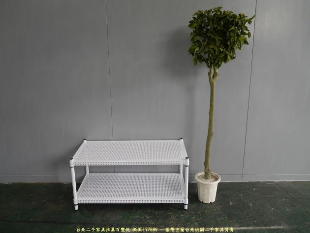 二手純白色91公分雙層開放式層架 置物收納鐵架 簡易邊架 1