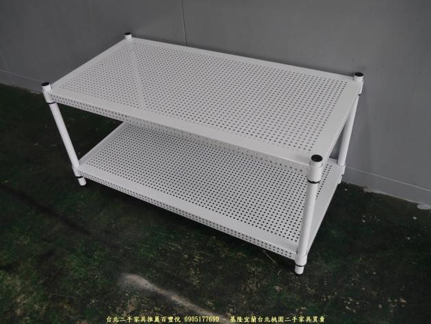 二手純白色91公分雙層開放式層架 置物收納鐵架 簡易邊架 2