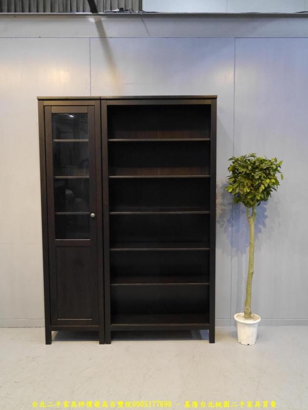 二手黑灰色137公分多置物書櫃 儲物櫃 書櫥櫥櫃 玩具公仔櫃 精品櫃 1