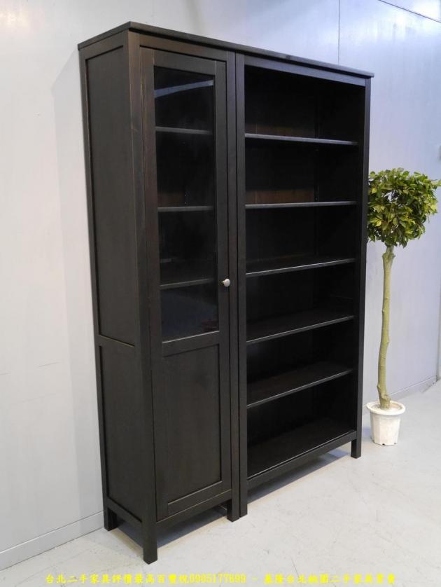 二手黑灰色137公分多置物書櫃 儲物櫃 書櫥櫥櫃 玩具公仔櫃 精品櫃 3