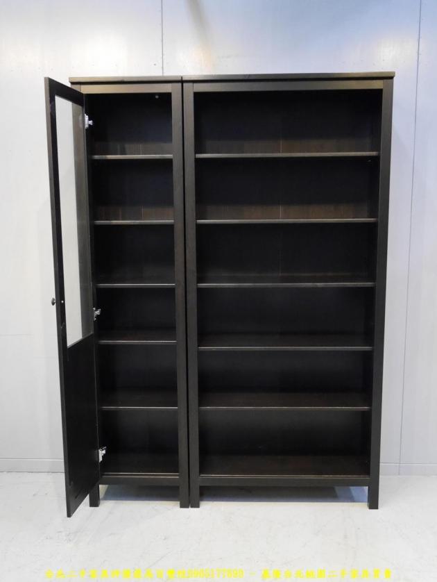 二手黑灰色137公分多置物書櫃 儲物櫃 書櫥櫥櫃 玩具公仔櫃 精品櫃 5