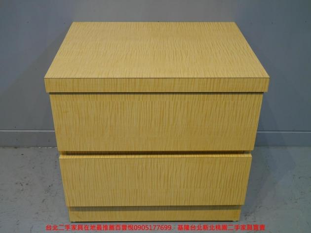 二手白橡色50公分兩抽床邊櫃 置物收納櫃 儲物櫃 抽屜櫃 矮櫃房間櫃邊櫃 1