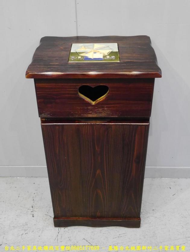 二手胡桃色38公分垃圾桶櫃 邊櫃櫥櫃矮櫃收納櫃置物櫃 1