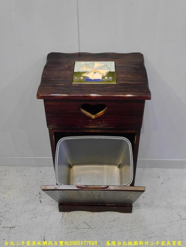 二手胡桃色38公分垃圾桶櫃 邊櫃櫥櫃矮櫃收納櫃置物櫃 2