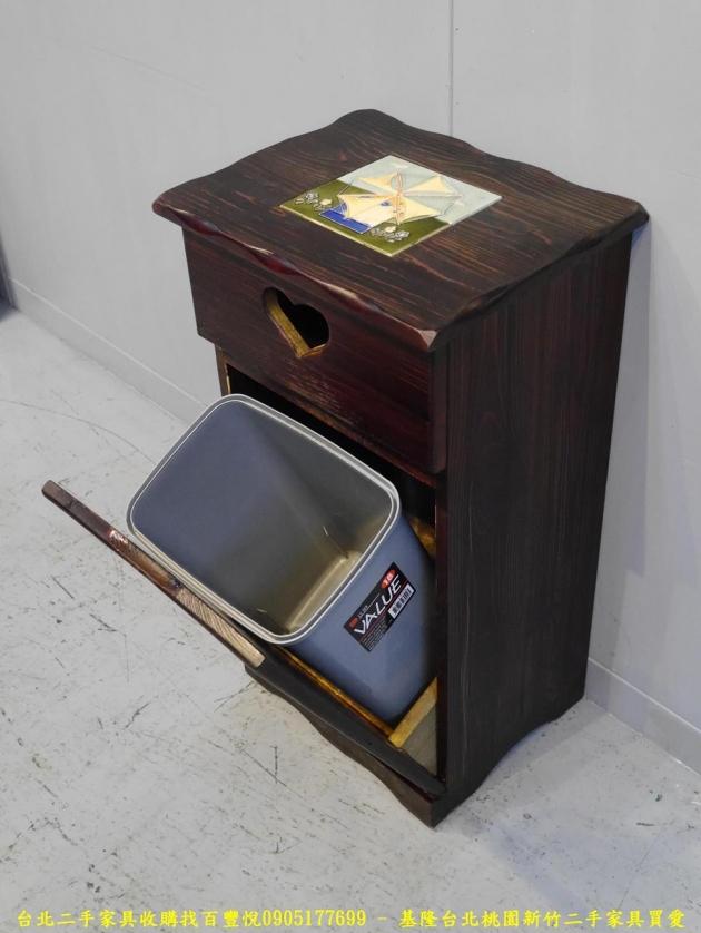 二手胡桃色38公分垃圾桶櫃 邊櫃櫥櫃矮櫃收納櫃置物櫃 3
