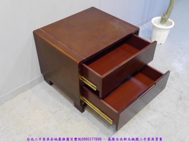 二手胡桃色56公分雙抽床邊櫃 置物收納櫃 抽屜櫃 儲物櫃 房間櫃 床頭櫃 邊櫃 4