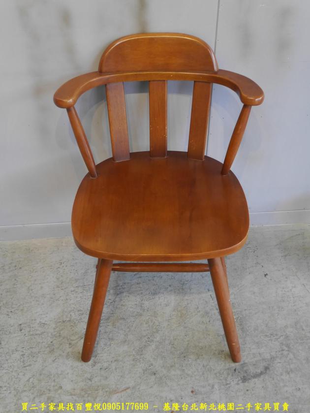 二手柚木色實木休閒餐椅 吃飯椅咖啡椅等候椅洽談椅 1
