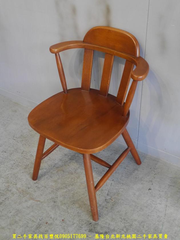 二手柚木色實木休閒餐椅 吃飯椅咖啡椅等候椅洽談椅 2