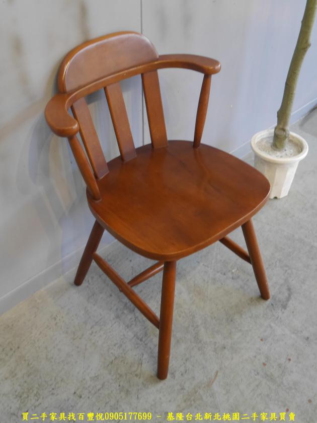 二手柚木色實木休閒餐椅 吃飯椅咖啡椅等候椅洽談椅 3