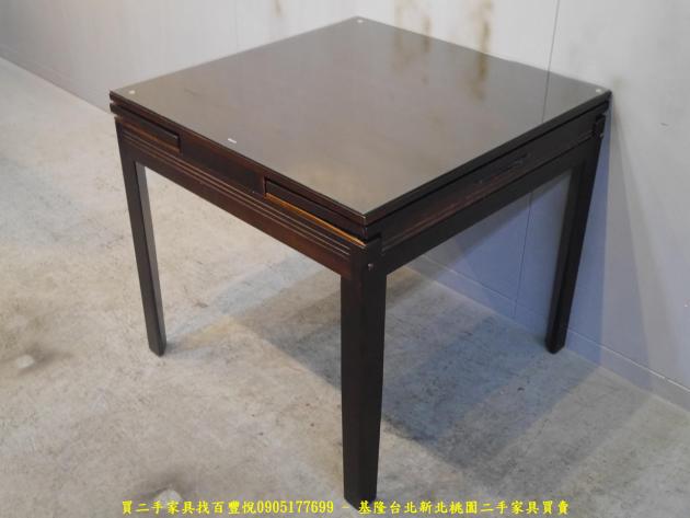 二手胡桃色82公分玻璃伸縮餐桌 吃飯桌 會客桌 休閒桌 接待桌 置物桌 洽談桌 泡茶桌 2