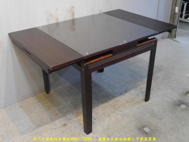 二手胡桃色82公分玻璃伸縮餐桌 吃飯桌 會客桌 休閒桌 接待桌 置物桌 洽談桌 泡茶桌 3