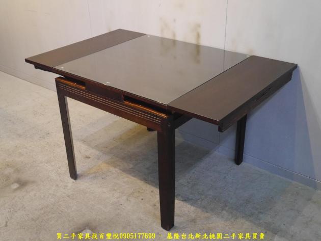 二手胡桃色82公分玻璃伸縮餐桌 吃飯桌 會客桌 休閒桌 接待桌 置物桌 洽談桌 泡茶桌 4