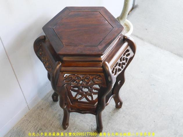 新品出清雞翅木實木50公分六角花架 置物架 花瓶架 擺飾架 玄關架 電話几 3