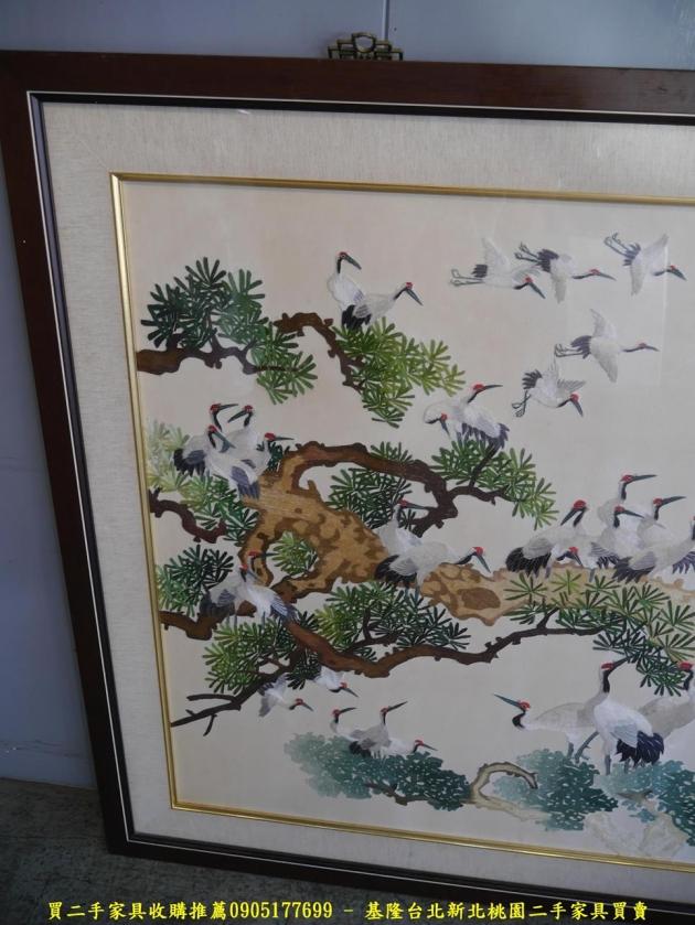 二手手工湘繡百鶴圖 松鶴延年福壽延綿風水畫擺飾品 3