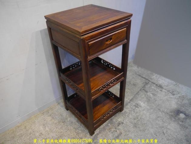 新品出清雞翅木48公分單抽三層花架 擺飾架 收納置物架 藝品架 邊架 電話架 2