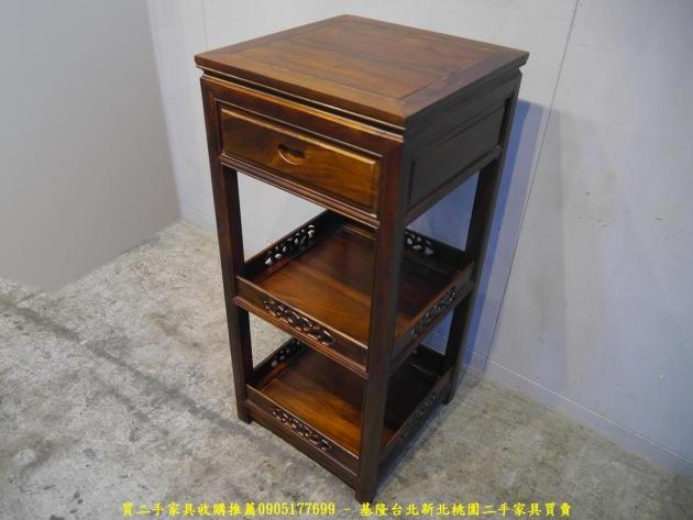 新品出清雞翅木48公分單抽三層花架 擺飾架 收納置物架 藝品架 邊架 電話架 3