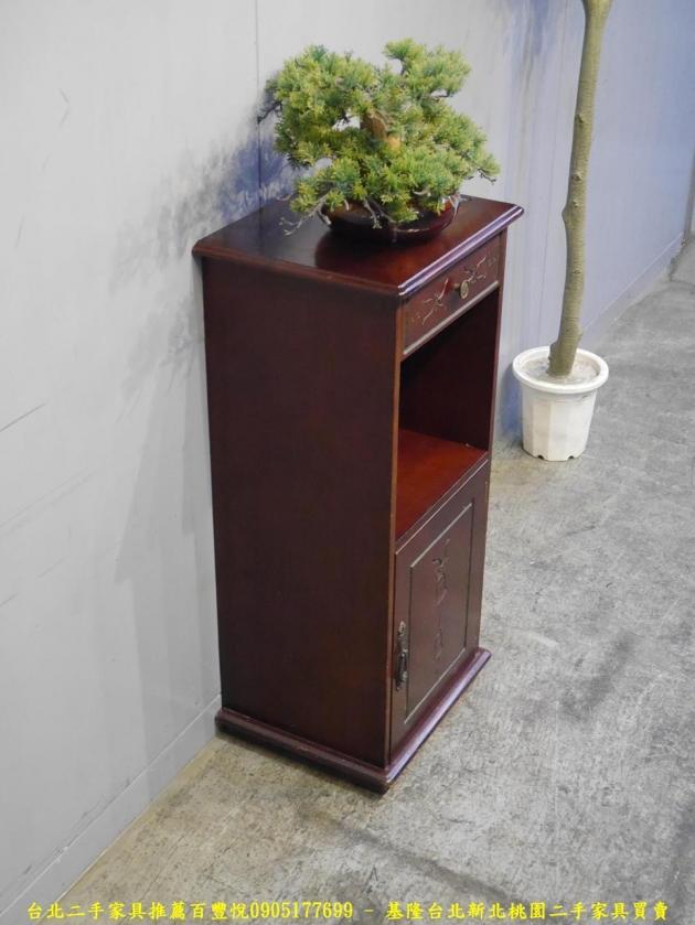 二手胡桃色41公分單抽花架 置物收納架 儲物架邊架擺飾架電話架 藝品架 花台 2