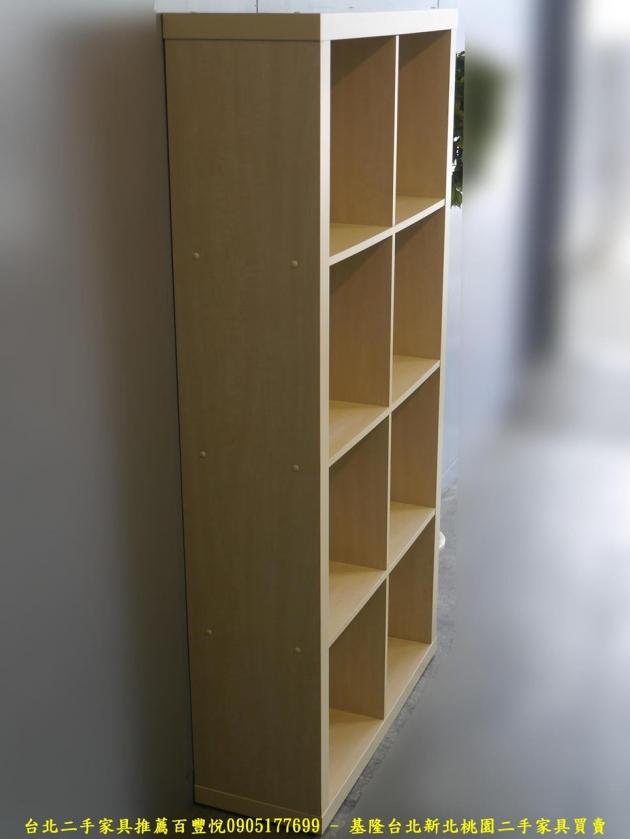 二手米色81公分八格開放式書櫃 書櫥櫥櫃 置物收納儲物櫃 邊櫃公仔櫃擺飾櫃 2