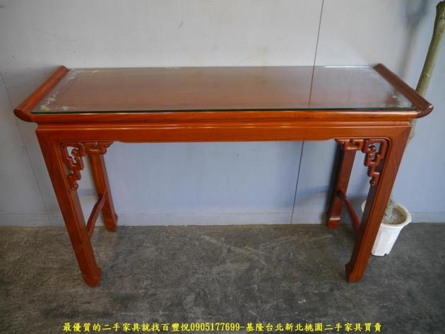二手花梨木鑲貝全實木仿古四尺玄關桌 擺飾桌置物桌邊桌 1