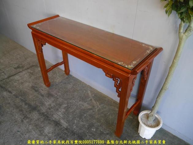 二手花梨木鑲貝全實木仿古四尺玄關桌 擺飾桌置物桌邊桌 2