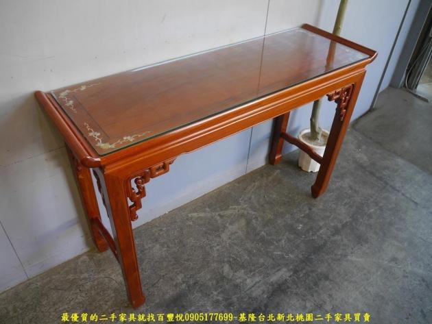 二手花梨木鑲貝全實木仿古四尺玄關桌 擺飾桌置物桌邊桌 3