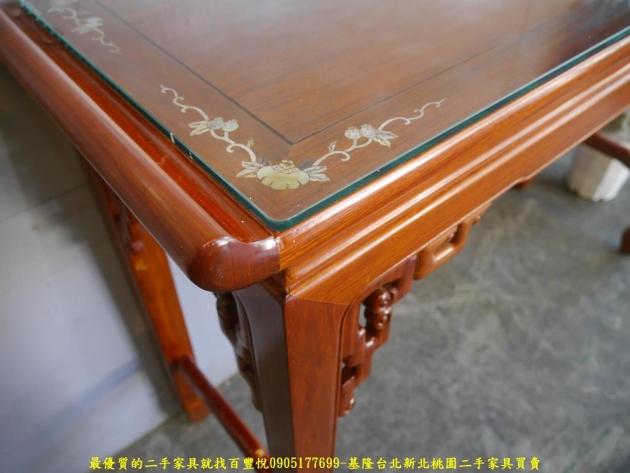二手花梨木鑲貝全實木仿古四尺玄關桌 擺飾桌置物桌邊桌 4