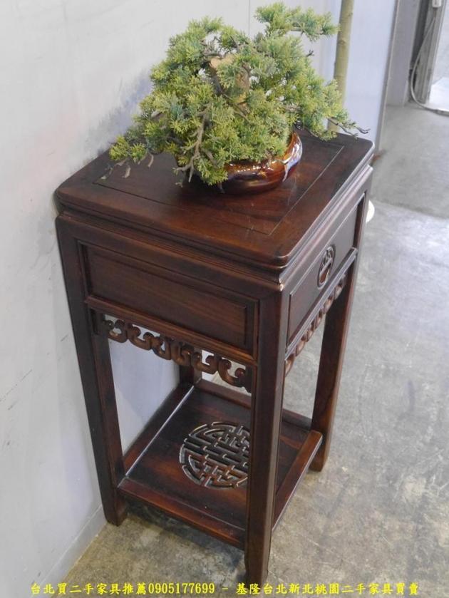 二手仿古雞翅木全實木41公分單抽花架 花台擺飾架置物架收納架 3