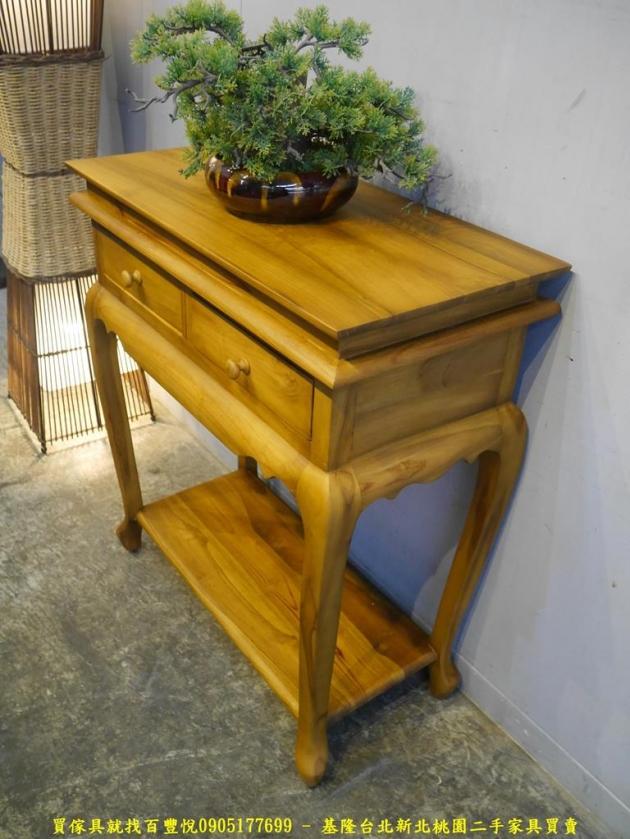 限量新品柚木全實木雙抽玄關桌 置物桌客廳桌擺飾桌花台架 2
